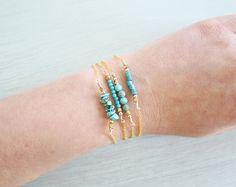 Rustic Turquoise Bar Bracelet - Turquoise Bracelet - Beaded Bar Bracelet - Bead…