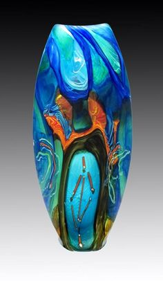 Glass art vase vase deco, glass artwork, objet d'art, glass d Blown Glass Art, Art Of Glass, Glass Artwork, Cut Glass, Glass Ceramic, Mosaic Glass, Fused Glass, Stained Glass, Cristal Art
