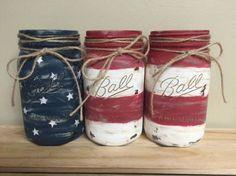 Diy summer home decor american flag Trendy ideas Patriotic Crafts, Patriotic Decorations, July Crafts, Americana Crafts, Patriotic Room, Primitive Crafts, Mason Jar Projects, Mason Jar Crafts, Mason Jar Diy