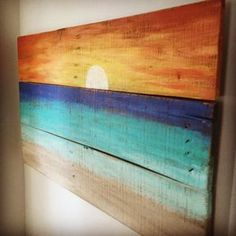 Pin for Later: Coastal Wall Decor. Rustic Wall Art on Reckaimed Wood Sunset. Love this beach design inspiration, you should go look at far more by clicking through to this website. Rustic Wall Art on Reckaimed Wood Sunset. Rustic Wall Art, Rustic Walls, Wood Wall Art, Rustic Wood, Diy Wood, Wood Walls, Arte Pallet, Pallet Art, Pallet Ideas