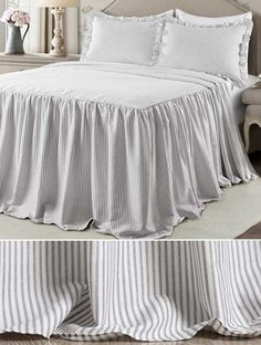 Simple Ticking Stripe Bedspread #bedspread #tickingstripe