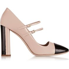 Miu Miu Two-tone patent-leather Mary Jane pumps (€460) ❤ liked on Polyvore featuring shoes, pumps, blush, black pumps, mary-janes, black patent pumps, high heel pumps and black shoes