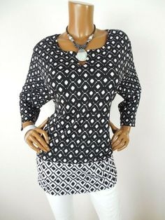 66aeb45a7d2582 CHICO S Sz 3 Womens Top XL Black White Diamond Print Shirt Stretch Side  Slits