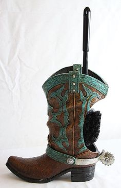 Western Boot Toilet Brush Holder