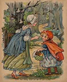 Little Red Riding Hood Sets Out to Visit Granny Book Illustration
