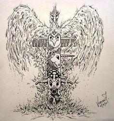 by Vernon Fourie | illo illustration drawing totem pole spirit animals phoenix eagle unicorn bull turtle gecko cat