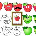 Apple Clipart - Silly Apples - Apples with Faces  Commercial Use  Silly Apple Clipart collection features color and black and white images. Hand dr...