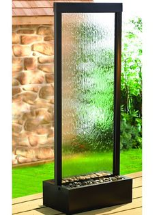 7.5' Gardenfall Clear Glass and Black Oxide Fountain with LED Lights