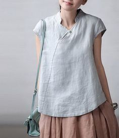 Slanting Collar Linen Shirt CustomMade Fast Shipping by zeniche Mode Outfits, Fashion Outfits, Womens Fashion, Fashion Clothes, Fashion Ideas, Sewing Blouses, Look Fashion, Fashion Design, Plus Size Shirts