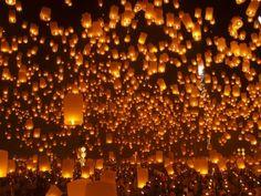 Sky lanterns festival, Thailand, Loy Krathong and Yi Peng Festival