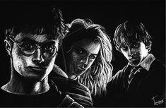 """""""Harry Potter"""" - 16x20 white pencil on black bristol board."""