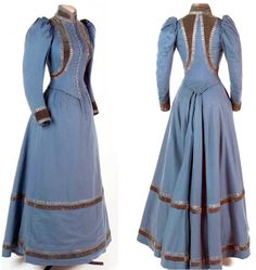 1895 Dress made by Stringer, Belfast. Slate blue wool with grey velvet ribbon and stamped tinted metal shapes. Via National Trust Collections.