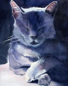 Details about Giclee PRINT Russian Blue Grey Gray Cat Art Painting Gift Custom watercolor - russian blue cats -
