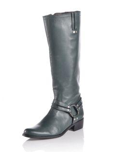 Stiefel aus Glattleder mit Riemen und Nieten verziert. Lederfutter und leicht gepolsterte Lederdecksohle. Synthetiklaufsohle. Block-Absatz. Höhe bei Gr. 37 ca. 2 cm. Obermaterial: 100% Leder, Futter: 100% Leder, Decksohle: 100% Leder, Laufsohle: 100% Synthetik...