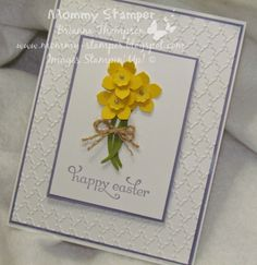 Stampin' Up, Brianna Thompson, Mommy Stamper, Delightful Dozen, Easter, Daffodil, Petite Petals, Punch, Simple card