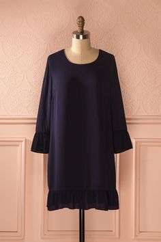 Davila Navy - Long sleeved shift dress with frills