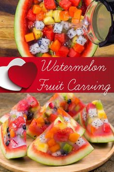 Such a fun way to serve watermelon. So easy to do and will impress your friends. Watermelon Fruit Carving 1 WatermelonVarious fruit of your. Jello With Fruit, Watermelon Jello, Watermelon Carving, Watermelon Dessert, Watermelon Ideas, Fruit Slime, Cutting A Watermelon, Watermelon Appetizer, Watermelon Pictures