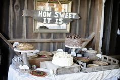 """""""How Sweet It Is"""" signage over dessert bar! Cute! Photography: Alders Photography - www.aldersphotography.com"""