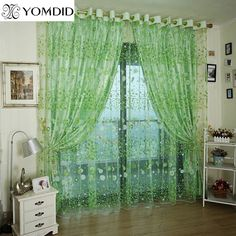 Pastoral Printed Tulle Curtain pink flower flat screens Voile Curtains for living room Purple Green Pink cortinas de flores #Affiliate