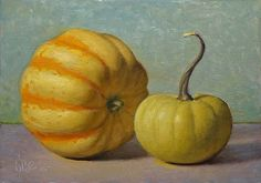 Original Oil Painting by DBC, pumpkin gourds, 5x7 inches
