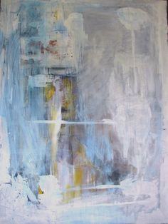 White Painting Large abstract pale blue yellow by cherylwasilowart, $799.00