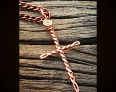 Wire Wrapped Cross Necklace Copper Wire Cross by BeadBrainDesigns