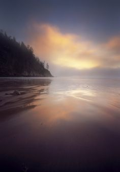 Sunset at Short Sand Cannon Beach in Oswald West State Park along de Oregon Coast_ USA