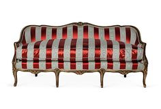 We fell in love with this red and white silk satin settee when we saw it in Kelly Wearstler's warehouse!