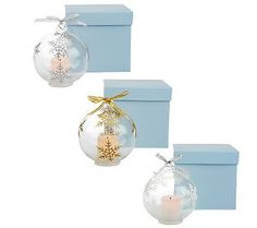 Candle Impressions S/3 Glass Ornaments with Flameless Votives & Timer