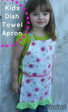 Children's Dish Towel Apron Tutorial - Try this super simple and adorable tutorial to turn a dish towel into an apron for your little one's kitchen fun!