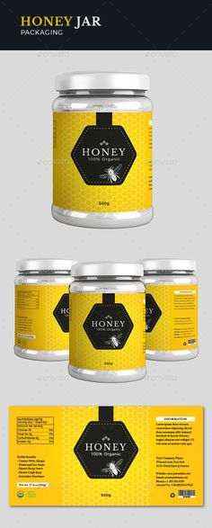 Label design for premium honey. All text and colors are easily editable. FEATURES CMYK Color Print ready Easy customizable and inches with bleeds Illustrator AI and EPS files includedFonts used: Montserrat Crimson Libre Baskerville Honey Packaging, Jar Packaging, Packaging Design, Honey Label, Label Templates, Print Templates, Container Design, Printable Labels, Label Design