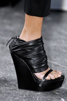 Black platform wedge sandals. Givenchy, Ready-to-Wear Spring 2010. Photo: ImaxTree