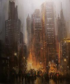 City Scene Painting - City Rain by Tom Shropshire Rain Painting, City Painting, Light Painting, Nocturne, Paintings For Sale, Original Paintings, Acrylic Paintings, Original Art, City Rain