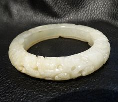 Antique Nephrite Bangle Carved Jade Qing by ElegantArtifacts