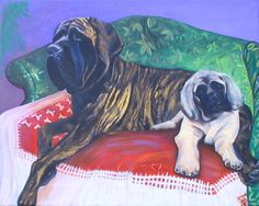 Mastiffs On The Couch Painting at ArtistRising.com
