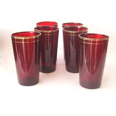 Vintage Ruby Red Glass Tumblers by Hallingtons on Etsy