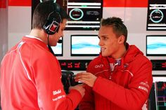 Max Chilton with his engineer in Barcelona