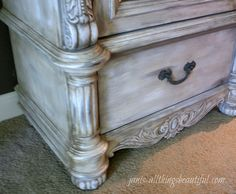 Nice tutorial on achieving an old world washed finish. All Things Beautiful: Armoire {Painted Furniture} Makeover Chalk Paint Furniture, Furniture Projects, Furniture Making, Diy Furniture, Bedroom Furniture, French Furniture, Furniture Cleaning, Furniture Styles, Modern Furniture