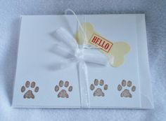 Hand stamped paw prints hello pet themed note cards, set of 4 stamped notes, blank on the inside, pet themed notes