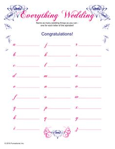 Wedding Items For Each Letter Of Alphabet