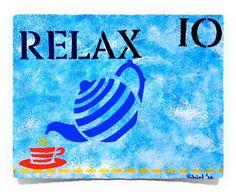 Relax Tea Tray Mixed Media on Wooden Canvas Art of Creativity Studio Tea Tray, Art Studios, Art Projects, Mixed Media, Creativity, Relax, Studio Art, Canvas, Acrylics
