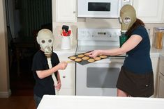 Two survivors of the nuclear apocalypse enjoying some freshly baked sugar cookies: