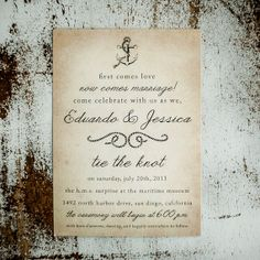 Vintage Nautical Wedding Invitation Suite - Antique, casual wedding, Invitation, RSVP cards, thank you cards, ship, anchor