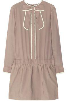 Victoria, Victoria Beckham Studded crepe and twill dress NET-A-PORTER.COM