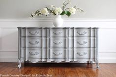 This timeless French Provincial style dresser delivers gorgeous and elegant design to any bedroom, dining room or living room. This beautiful dresser was made and marked by WHITE FINE FURNITURE back in the 1960s. This old world dresser offers lots of storage, features 6 solid wood