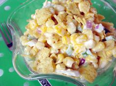 Paula Deen's Corn Salad: A keeper. Took to a family BBQ where they practically licked the bowl clean! Didn't have red onion or green pepper, used green onions-- one bunch. Made it the night before and just added a little extra mayo when I added the chili cheese Fritos right before serving.