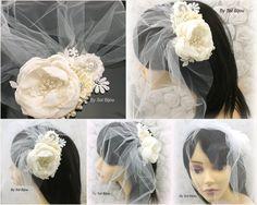 Sash Hair Clip Ivory Cream Elegant Wedding Bridal by SolBijou
