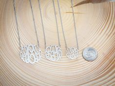 new monogram-  Small Sterling Silver Classic Monogram Necklace  by CielCreation
