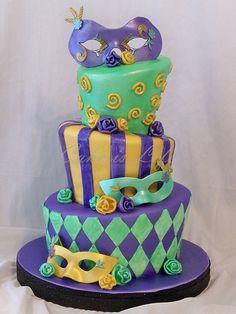 Mardi Gras Wedding Shower Cake | Flickr - Photo Sharing!