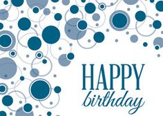 Big blue bubbles bounce across this birthday card, available from Greeting Card Collection.